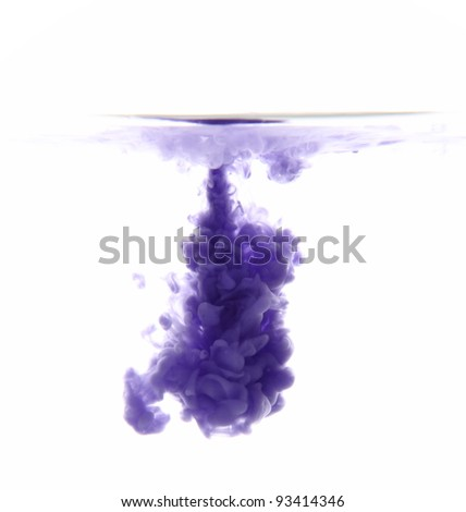 blue paint in the water as a smoke on white background - stock photo