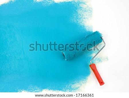 Blue paint roller - stock photo