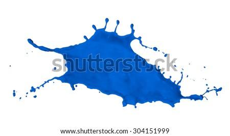 blue paint splash isolated on white background - stock photo