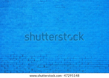Blue Painted Brick Wall Background - stock photo