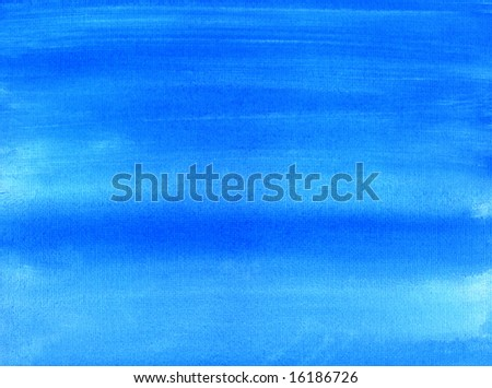 Blue painted canvas watercolor wash background. - stock photo