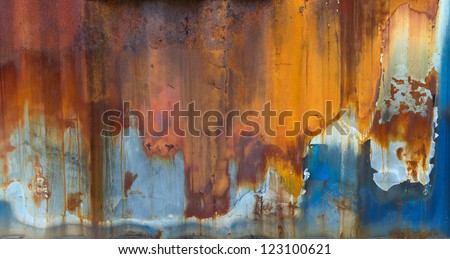 Blue painted metal with rust texture - stock photo