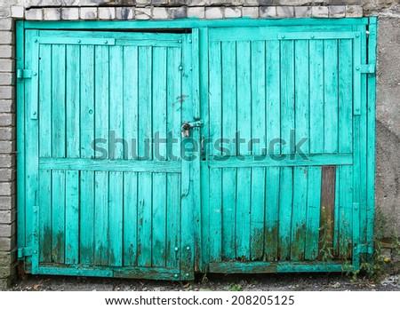 Blue Painted Wood Doors - stock photo