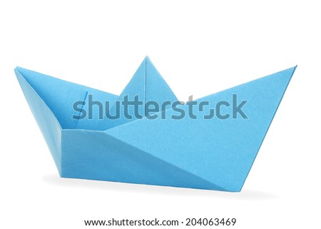blue paper boat isolated on white