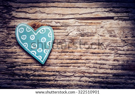 Blue paper heart on wooden background, Blank pink paper note with heart shape on grunge blue wooden background with copy space - stock photo