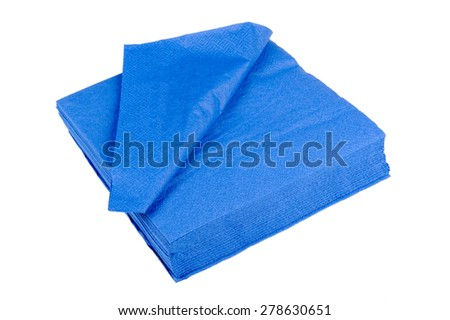 Blue Paper Napkins Isolated on White Background - stock photo