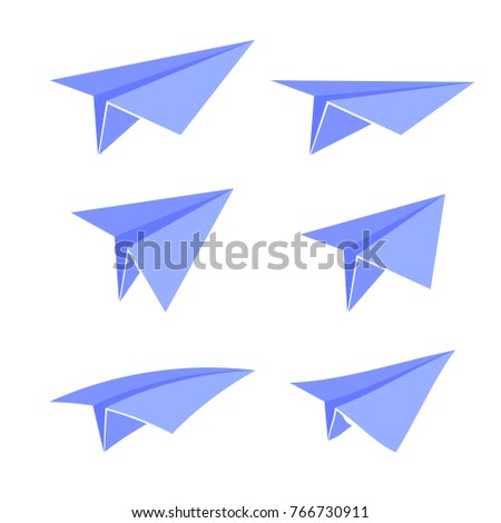 Blue Paper Plane Set Isolated on White Background