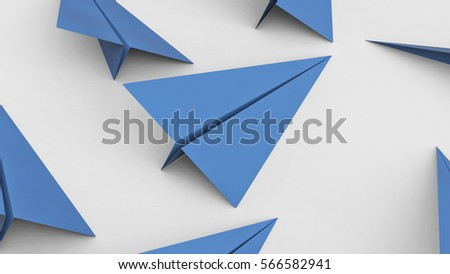 Blue paper planes on a simple white surface. This image is a 3d illustration.