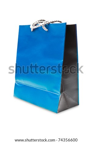 blue paper shopping bag isolated