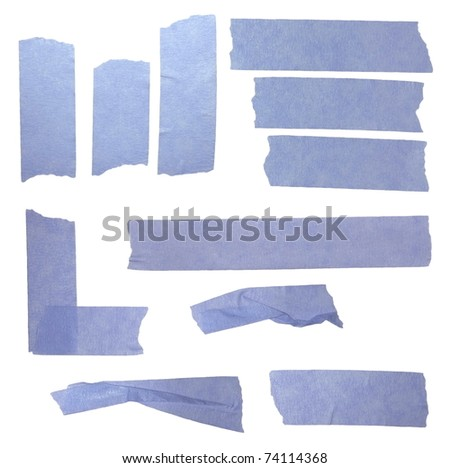 blue paper tape isolated on white background - stock photo