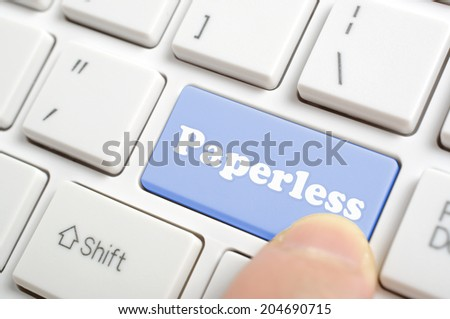 Blue paperless key on keyboard - stock photo