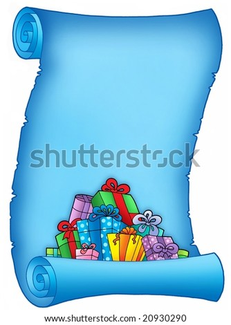 Blue parchment with pile of gifts - color illustration.
