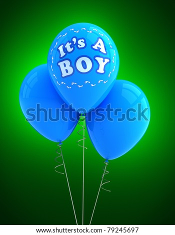 Blue party balloon celebrating a newborn baby boy - stock photo