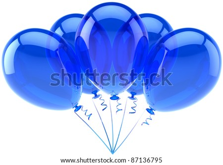 Blue party balloons 5 five Happy Birthday decoration. Anniversary retirement occasion graduation greeting card concept. Happiness joy fun abstract. Detailed 3d render. Isolated on white background - stock photo