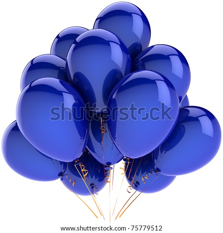 Blue party balloons. Happy birthday decoration. Retirement anniversary graduation greeting card concept. Positive emotion fun joy happiness abstract. Detailed 3d render. Isolated on white background - stock photo