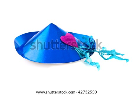 Blue party hat with a red heart on a white background - stock photo