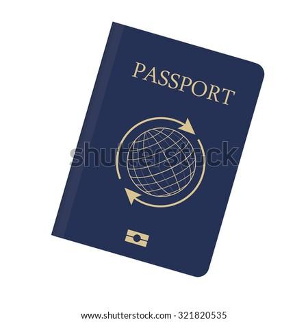 Blue passport with globe and arrows around raster illustration. Passport icon. Traveling passport - stock photo