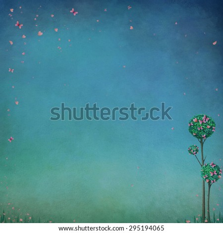Blue pastel background with trees and butterflies - stock photo