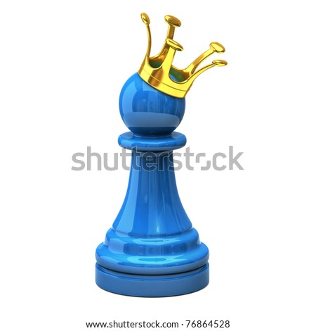 Blue pawn with a golden crown - stock photo