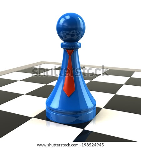 Blue pawn with red ties on desk - stock photo
