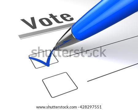 Blue pen and check mark on vote checkbox. Vote concept. 3d render of vote pen. - stock photo