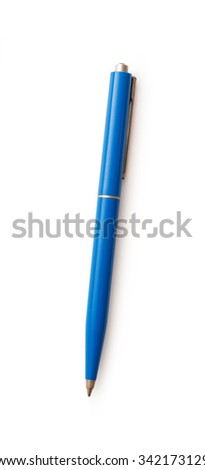 Blue pen in closeup isolated on white background