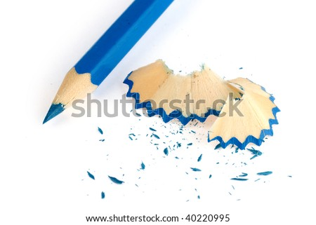 blue pencil and shavings isolated on white background - stock photo
