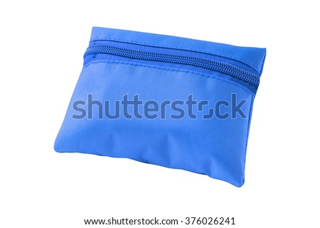 Blue pencil-case isolated on a white background - stock photo