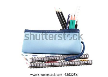 blue pencil case with school supplies isolated on white - stock photo