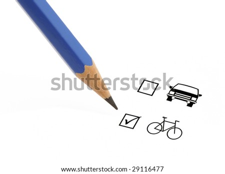 Blue pencil choosing bicycle instead of a car on a questionnaire - stock photo