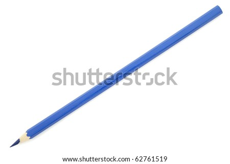 Blue pencil isolated on white background - stock photo