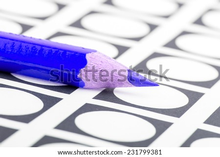 Blue pencil used for voting (election America) - stock photo