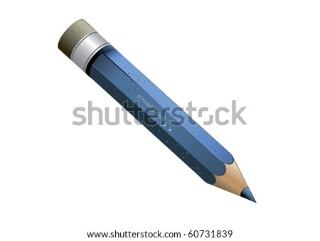 blue pencil with an eraser on a white background (Raster version) - stock photo