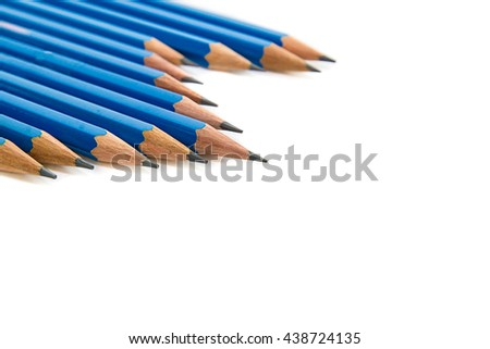 blue pencils isolated on white background