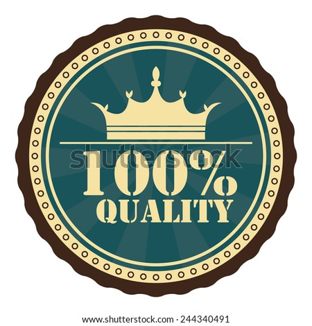 blue 100 percent quality stamp, badge, sticker, icon, button, label isolated on white - stock photo