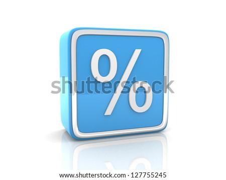 Blue percentage icon. 3d render - stock photo