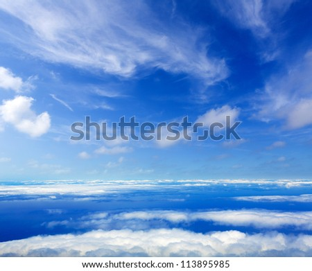 Blue perfect sky sea of clouds from high altitude in canary Islands - stock photo