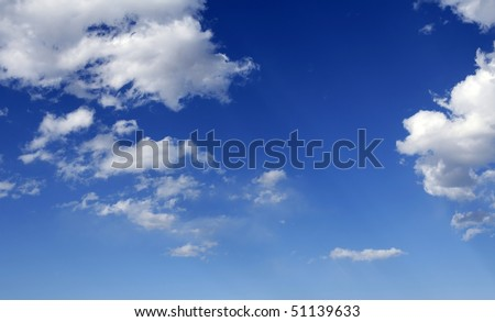blue perfect sky white clouds on sunny summer daytime - stock photo