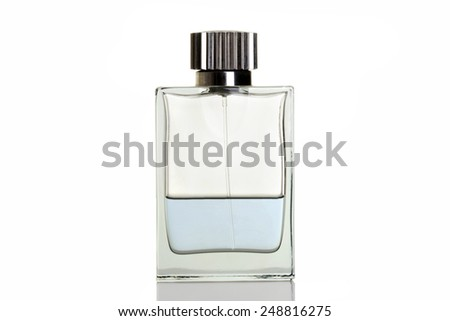 blue perfume in bottle - stock photo