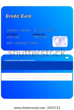 BLUE Personal Credit Card on white background - stock photo
