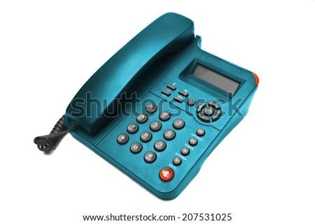 Blue phone closeup isolated on white background - stock photo