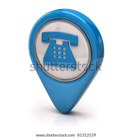 Blue phone Icon - stock photo