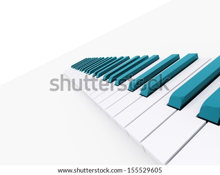 Blue piano keyboard rendered on white - stock photo