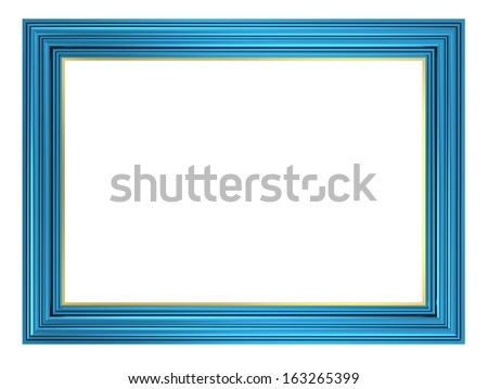 Blue picture frame. Computer generated 3D photo rendering. - stock photo
