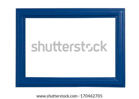 Blue Picture Frame isolated on White background - stock photo