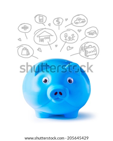 Blue piggy bank and icons design to represent the concept of saving money  - stock photo