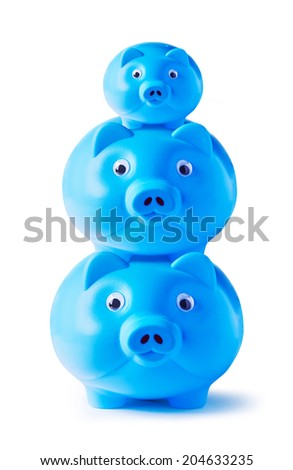 Blue piggy bank family on white background - stock photo