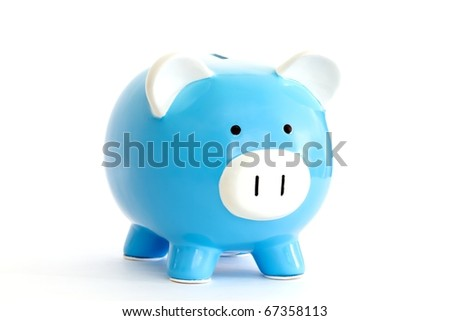 blue piggy bank isolated on white - stock photo