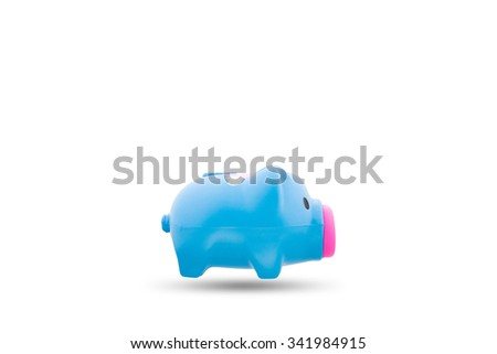 Blue piggy bank or money box isolated on white background, with clipping path - stock photo