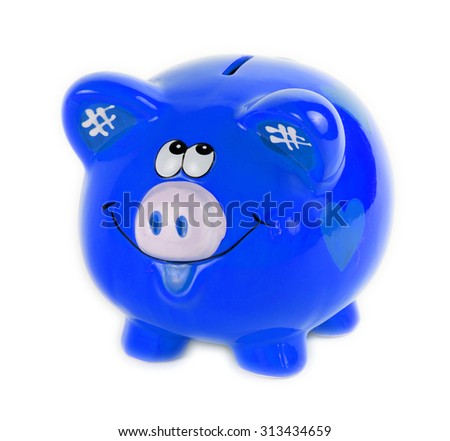 Blue piggy bank style money box isolated on a white  - stock photo